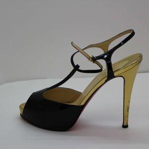 Christian Louboutin Shoes - Christian Louboutin Black and Gold Ernesta Plateau
